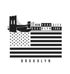 New york brooklyn bridge typography for t-shirt vector