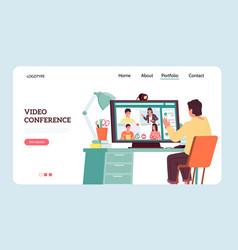 Online webinar landing page video conference vector