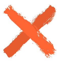 orange criss cross brushstroke delete sign vector image