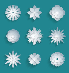 paper flowers set 3d origami icons vector image