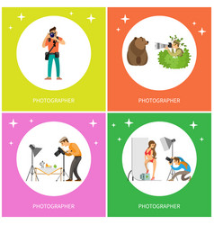 Photographer making pictures of bear woman model vector
