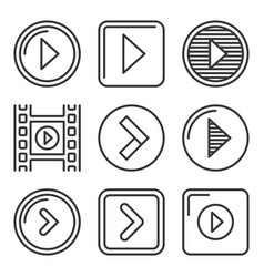 play button icons set on white background line vector image