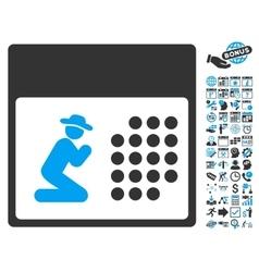 Pray Calendar Flat Icon With Bonus vector