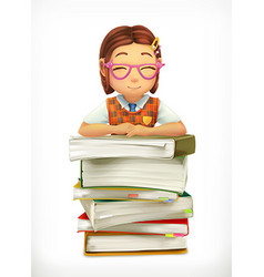 Pupil and school textbooks Little girl cartoon vector image