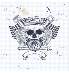 racer skull with helmet vector image