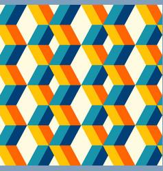 retro 3d colorful columns pattern vector image