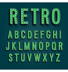Retro font with light bulbs vector