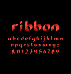 ribbon font alphabet with lowercase letters and vector image