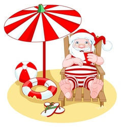 Santa Claus on the Beach vector image