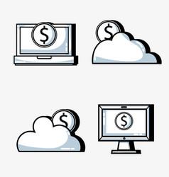 set crowdfunding business money financing vector image