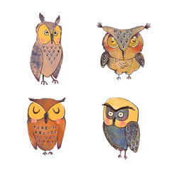 Set cute owls isolated on white background vector