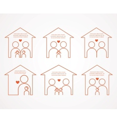 Set of family and house icons family love vector