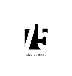 Seventy five anniversary minimalistic logo vector