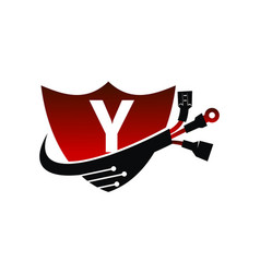 Shield global electricity letter y vector