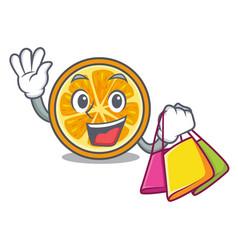 shopping orange character cartoon style vector image