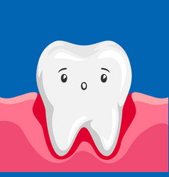 sick tooth with inflamed gums vector image