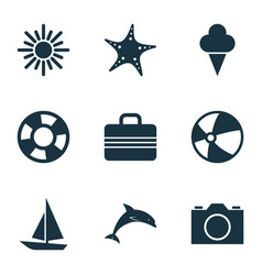 Sun icons set collection of sorbet baggage vector