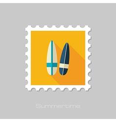 Surfboard flat stamp Summer Vacation vector