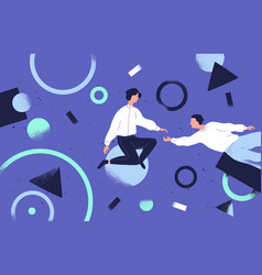 teamwork and support flat vector image