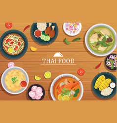 thai food on a wooden background vector image