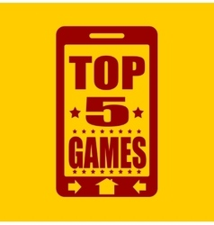 Top five games text on phone screen vector