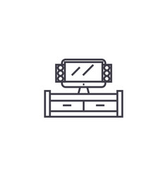 tv cabinet line icon sign on vector image