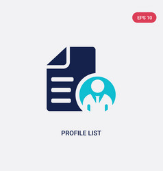 Two color profile list icon from general concept vector