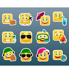 Vacation smile stickers set vector image
