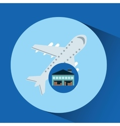 Warehouse building airplane transport vector
