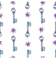 Watercolor flower and key pattern vector image