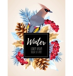 Winter card with rowan vector