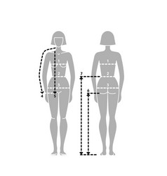Woman body measurement chart taking measurement vector