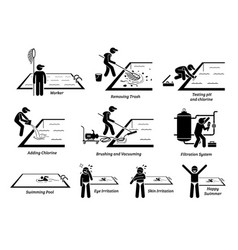 Worker cleaning swimming pool and maintenance vector
