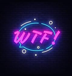 wtf neon text design template comic speech vector image