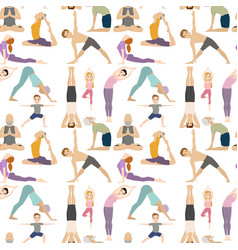 Yoga positions characters class meditation people vector