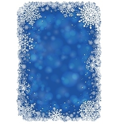 Christmas frame with snowflakes - blue vector image
