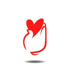 heart in hand logo vector image