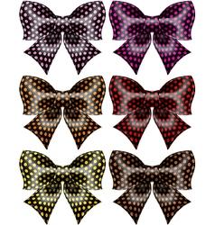 Holiday black polka dot bows vector image vector image