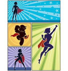 super heroine banners 1 vector image vector image