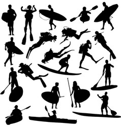 Canoe silhouette surfing and diving vector image vector image