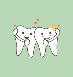 cute tooth couples in love and hug each other vector image vector image
