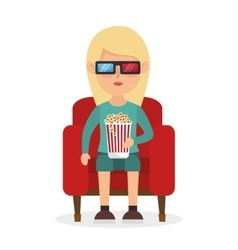 girl sitting couch pop corn and 3d film vector image