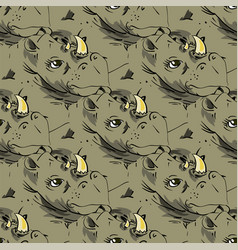 seamless african rhinoceros background vector image