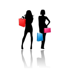 silhouette girls shopping vector image vector image