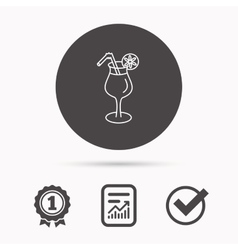 Cocktail icon Glass of alcohol drink sign vector image