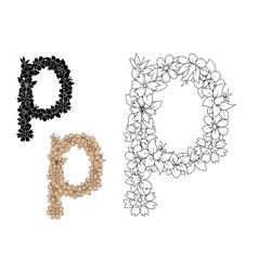 Retro floral small letter p vector