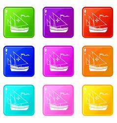 ship of columbus set 9 vector image vector image