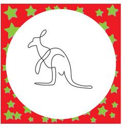 thin black one line design of kangaroo hand drawn vector image vector image