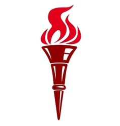 Handheld flaming torch vector image vector image