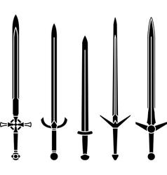 stencils of medieval swords vector image vector image